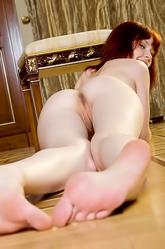 Behind that redhead young slut