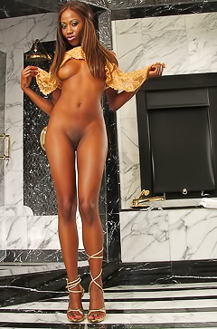Ebony babe taking shower