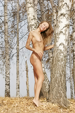 Naked babe walks the autumn forest