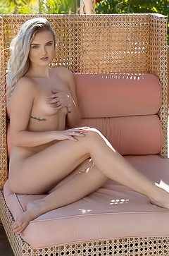 Sophia Rose takes it all off while relaxing outside