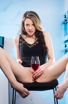 Gorgeous Model Serenity With Wine