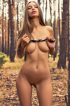 Alina Strips Naked In The Wood