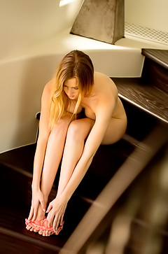 Ashley Lane Sexy hot blonde Ashley Lane got nude and posing on stairs