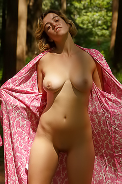 Peach Kennedy Getting Naked In Forest