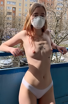 Hot Teen From Belarus Stripping On Balcony